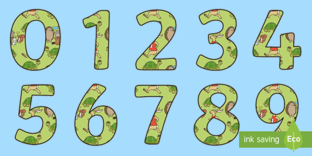 The Tortoise and The Hare Themed Display Numbers - stories, books