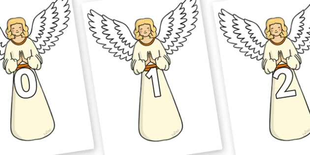 Numbers 0-50 on Angels - 0-50, foundation stage numeracy, Number recognition, Number flashcards, counting, number frieze, Display numbers, number posters