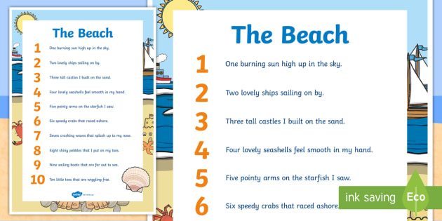 The Beach Mathematics Counting Display Poster - Mathematics Rhyming Songsmathematicsrhymes rhymingsongbeach,Australia