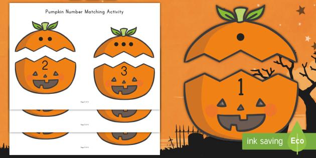 Pumpkin Number Matching Activity - Number Recognition, Center Activity, File Folder Activity, Independent Math Activity, Math, Pre-K Ma