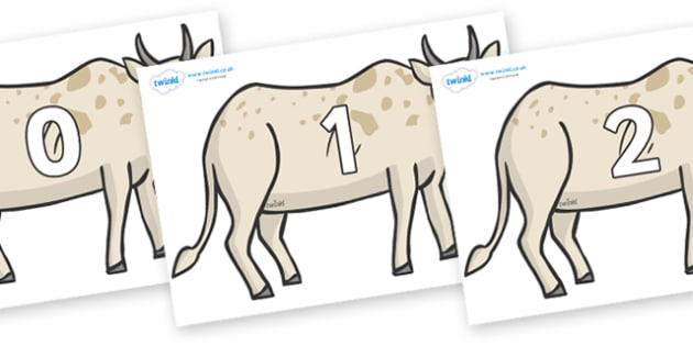 Numbers 0-100 on African Ox - 0-100, foundation stage numeracy, Number recognition, Number flashcards, counting, number frieze, Display numbers, number posters