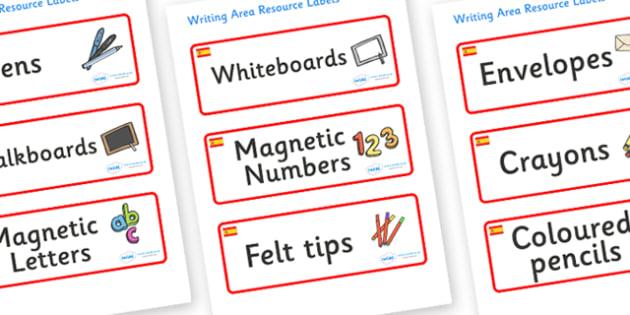 Spain Themed Editable Writing Area Resource Labels - Themed writing resource labels, literacy area labels, writing area resources, Label template, Resource Label, Name Labels, Editable Labels, Drawer Labels, KS1 Labels, Foundation Labels, Foundation
