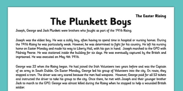 Irish History 1916 Rising The Plunkett Boys Comprehension Activity Sheet - irish history, 1916 rising, easter rising, comprehension, ireland, worksheet