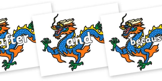 Connectives on Chinese Dragons - Connectives, VCOP, connective resources, connectives display words, connective displays