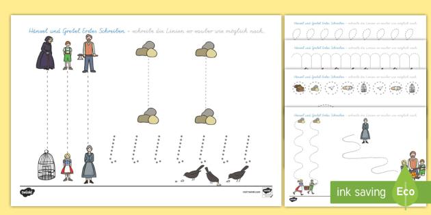 Hänsel und Gretel Arbeitsblatt Erstes Schreiben: Linien nachspuren - Hänsel und Gretel, Märchen, Schreibmotorik, nachspuren ,German