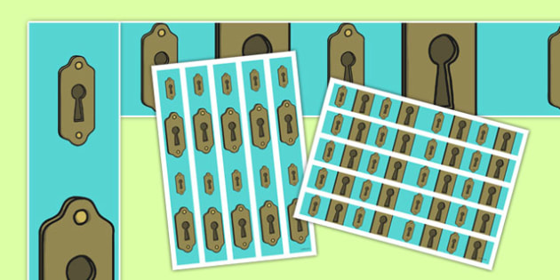 Key Hole A3 Display Borders - mystery, intrigue, discovery, identify, display, uncover, showcase, primary, ks1, ks2,