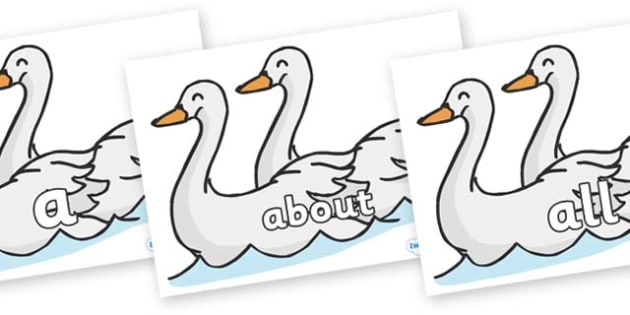 100 High Frequency Words on Swans - High frequency words, hfw, DfES Letters and Sounds, Letters and Sounds, display words