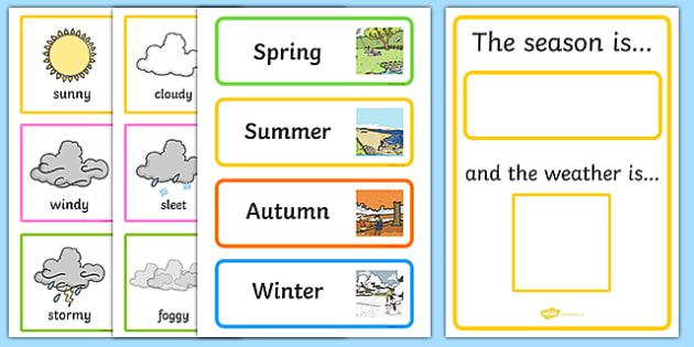 Weather And Season Calendar - season, weather, calendar, spring, summer, autumn, winter, rainy, sunny, cloudy, calendar