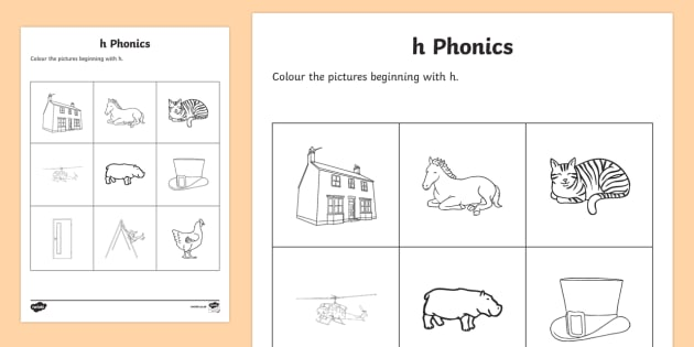 h Phonics Colouring Activity Sheet - Republic of Ireland, Phonics Resources, sounding out, initial sounds, phonics assessment, colouring,