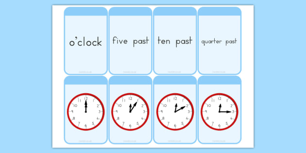 Telling the Time Matching Flashcards - australia, flashcard, time