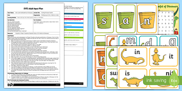 EYFS Sorting Dinosaur Sounds Adult Input Plan and Resource Pack