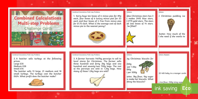 UKS2 Combined Calculations Multi-step Word Problems Christmas Maths Challenge Cards
