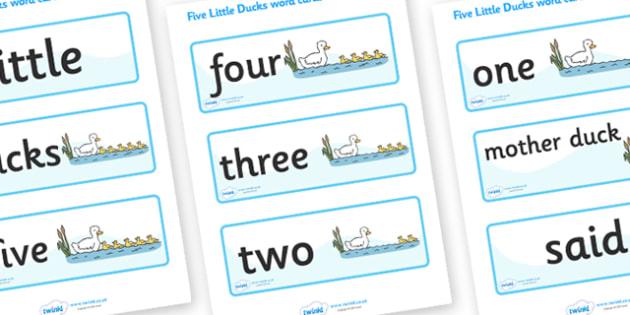 Five Little Ducks Word Cards - Five Little Ducks, nursery rhyme, rhyme,sequencing,  rhyming, numeracy, word cards, cards, flashcards, nursery rhyme story, nursery rhymes, counting