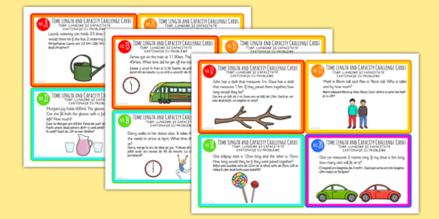 Time, Length and Capacity Problem Solving Challenge Cards Romanian Translation - romanian, time, length, capacity, problem solving, challenge cards