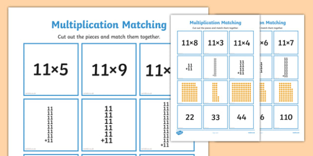 11 Times Table Multiplication Matching Puzzle - times table, multiplication, matching, puzzle, match, maths, numeracy, 11