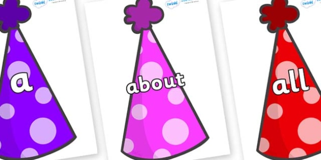 100 High Frequency Words on Party Hats - High frequency words, hfw, DfES Letters and Sounds, Letters and Sounds, display words