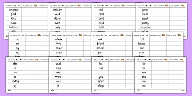 Common Exception Words Handwriting Practice - common exception words, handwriting, practice