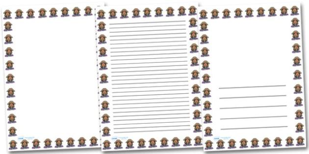 Pirate Girl Portrait Page Borders- Portrait Page Borders - Page border, border, writing template, writing aid, writing frame, a4 border, template, templates, landscape