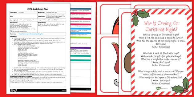 Christmas Night Song EYFS Adult Input Plan and Resource Pack