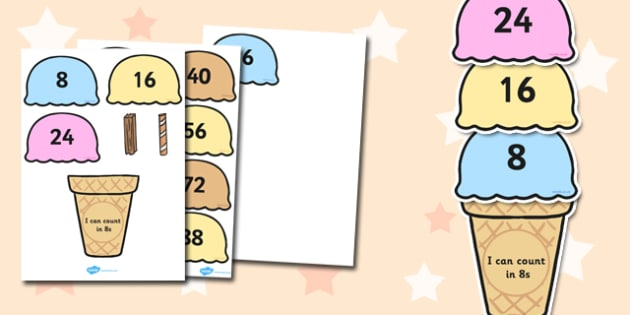Counting in 8s Ice Cream Activity - maths, numeracy, count, on, add, lots of, numbers, sequence, pattern, work, sheet, fun, game, eight, eights, times table, multiplication, ks1, ks2