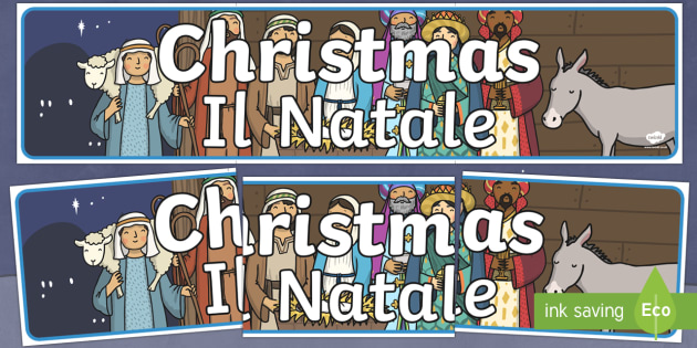 Italian Translation Christmas Display Banner English/Italian - Christmas Display Banner (Christmas) - Christmas, xmas, display banner, Santa, Father Christmas, tre