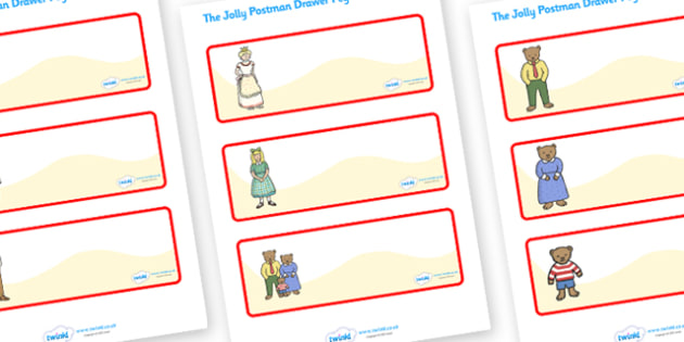 Editable Drawer Peg Name Labels to Support Teaching on The Jolly Postman - blue, postman, jolly, letter, Janet Ahlberg, Cinderella, Resource Labels, Name Labels, Editable Labels, Drawer Labels, Coat Peg Labels, Peg Label, KS1 Labels, Foundation Label