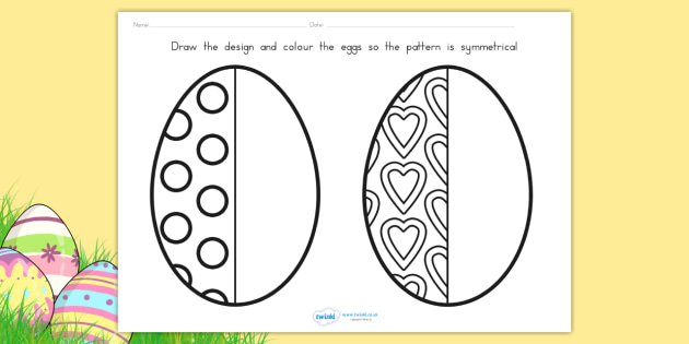 Easter Egg Symmetry Sheets - easter, easter egg, symmetry, maths