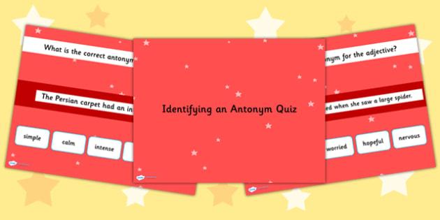 Identifying an Antonym in a Sentence SPaG Grammar PowerPoint Quiz