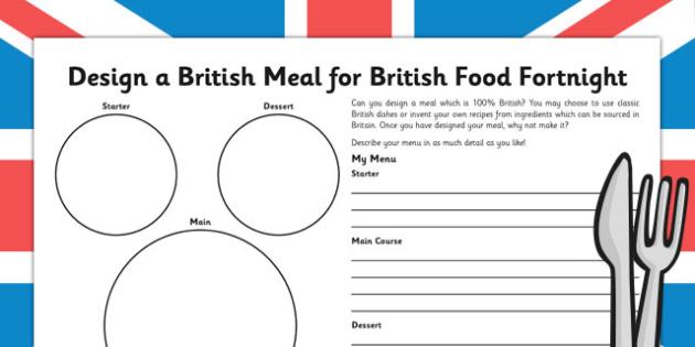 British Food Fortnight Design a Meal - british food fortnight