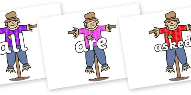 Tricky Words on Scarecrows - Tricky words, DfES Letters and Sounds, Letters and sounds, display, words
