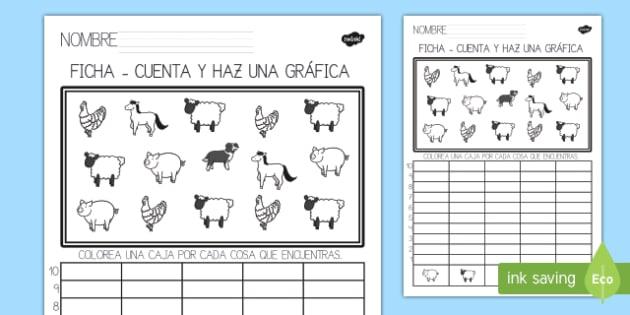 En la granja, contar y hacer gráficas Ficha de actividad