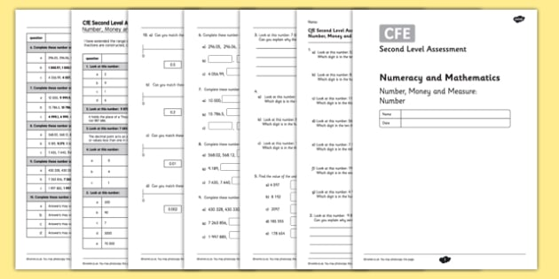 Second Level Assessment Numeracy and Mathematics Number Money and Measure Number - CfE, assessment, number, decimals, place value