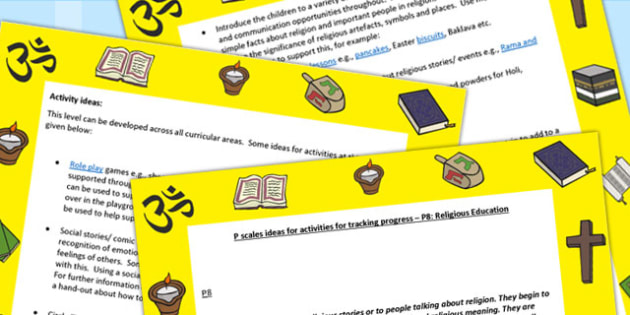 P Scales Ideas for Activities for Tracking Progress P8 RE - RE