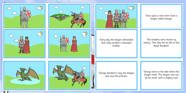 St. George and the Dragon Story Matching Sequencing Cards - saint, george, st george, dragons, story, legend, patron, hero, england, english, sequence, retell, order