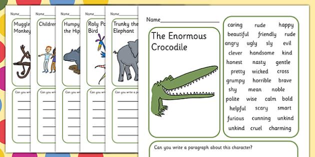 Description Writing Frame to Support Teaching on The Enormous Crocodile - the enormous crocodile writing frame, writing frames, themed writing frames, roald dahl