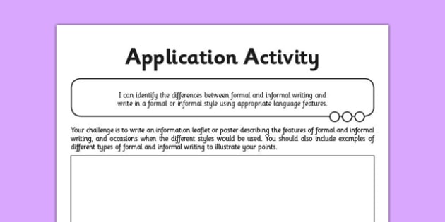 Y6 Formal and Informal Writing Application Activity - GPS, language, grammar, subjunctive