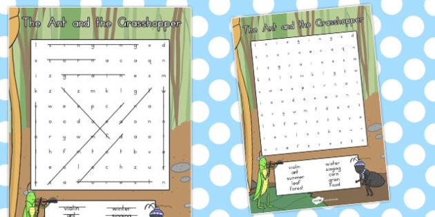 The Ant and the Grasshopper Wordsearch - wordsearches, activity