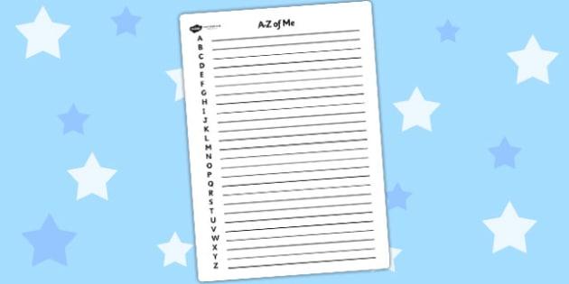 A Z of Me Writing Frame - a-z, alphabet, ourselves, writing frame