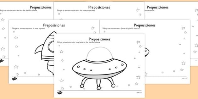 Ficha de preposiciones de extraterrestres - lugar, espacio, ovni, escritura
