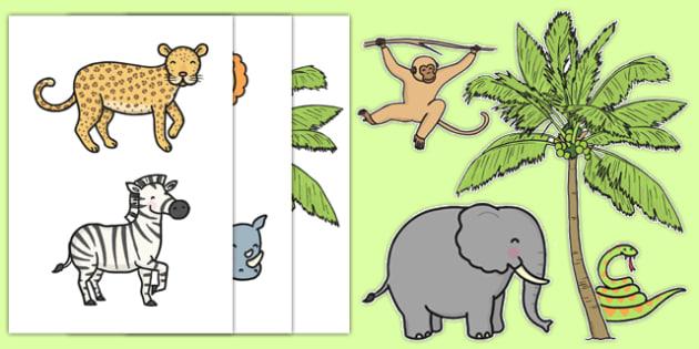 Jungle Themed Wall Decals - Jungle, Rainforest, poster, display, vines, A4, display, snake, forest, ecosystem, rain, humid, parrot, monkey, gorilla, rainforrest, rainforets, jungel