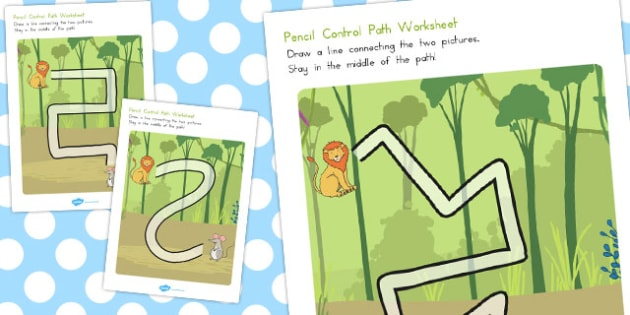 The Lion and the Mouse Pencil Control Path Worksheets - australia