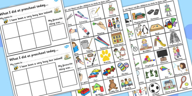 What I Did Today Home Communication Cards for Preschool - What I Did Today, Communication Cards, Communications, Preschool, Cards, Home