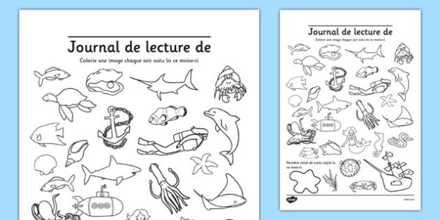 Journal de lecture de Français - Français, sous la mer, journal de lecture