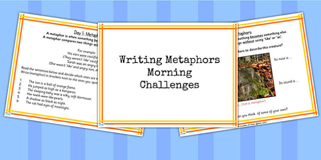 1 Week Y5 Literacy Metaphors Morning Activities PowerPoint