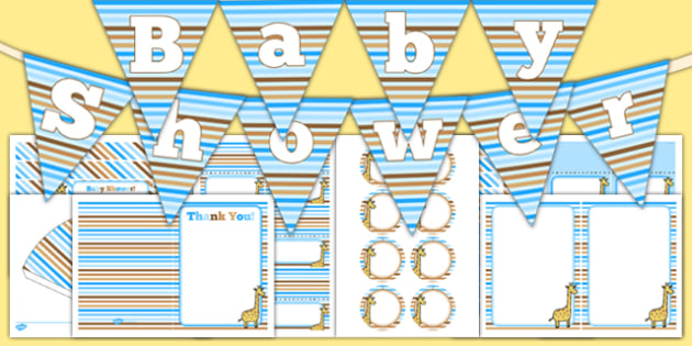 Baby Shower Decorations Blue Themed Pack - baby shower, baby, shower, newborn, pregnancy, new parents, decorations