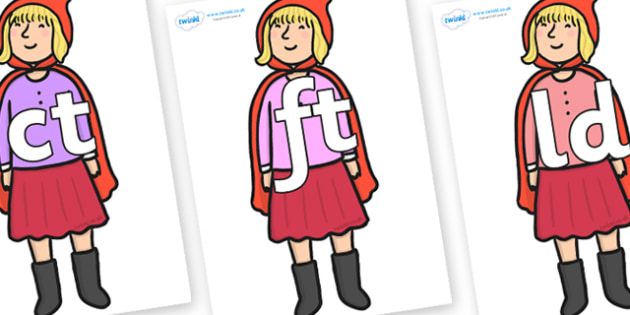 Final Letter Blends on Red Riding Hood to Support Teaching on The Jolly Christmas Postman - Final Letters, final letter, letter blend, letter blends, consonant, consonants, digraph, trigraph, literacy, alphabet, letters, foundation stage literacy