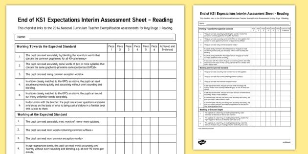 End of KS1 Expectations Interim Assessment Tracker - End of KS1