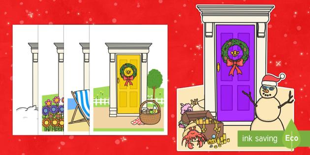 Christmas Fairy Door Cut-Outs - Priority Resources, door, cutouts, cut outs, elf doors, christmas, snowman, xmas, wreath
