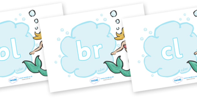 Initial Letter Blends on Mermaids - Initial Letters, initial letter, letter blend, letter blends, consonant, consonants, digraph, trigraph, literacy, alphabet, letters, foundation stage literacy