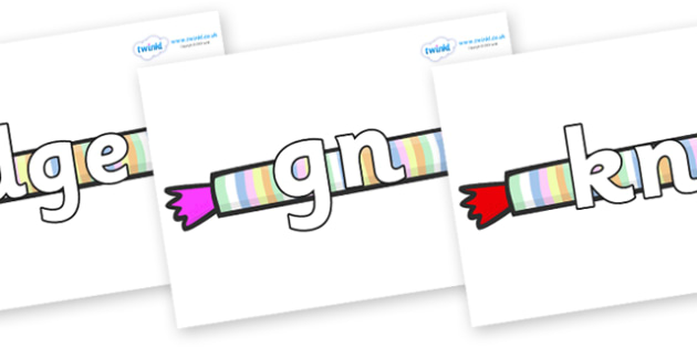 Silent Letters on Sweets - Silent Letters, silent letter, letter blend, consonant, consonants, digraph, trigraph, A-Z letters, literacy, alphabet, letters, alternative sounds